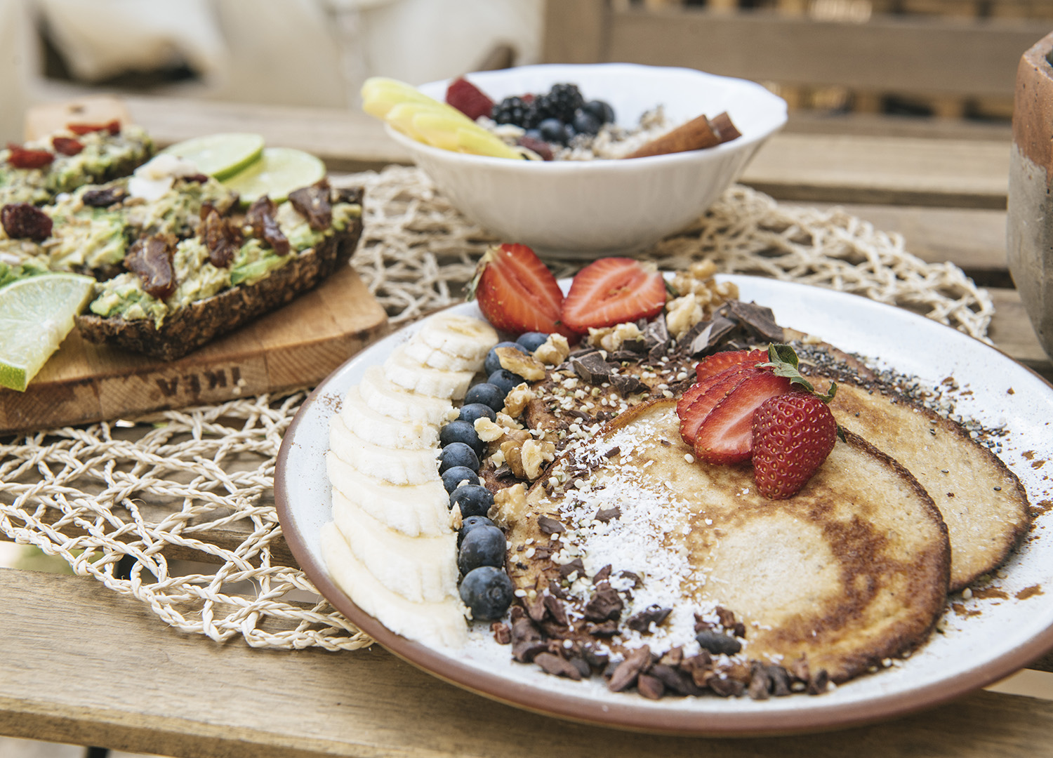 glamping breakfast consisting of pancakes, fruits and berries, served in our Dreamsea Surf Camp Portugal Alentejo
