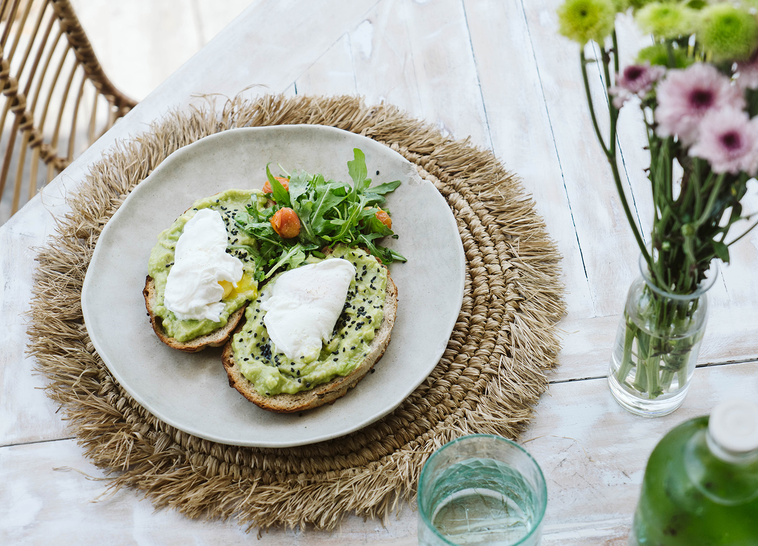 plate with avocado toast served in our surf destination Dreamsea Bali Canggu