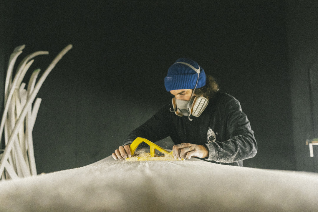 Pristine surfboards shaper Hugo shaping a new surfboard