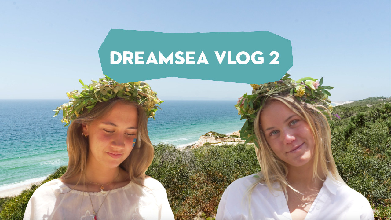 Thumbnail for our second Dreamsea Vlog: Collage of two girls wearing flower crowns in front of the ocean in Portugal